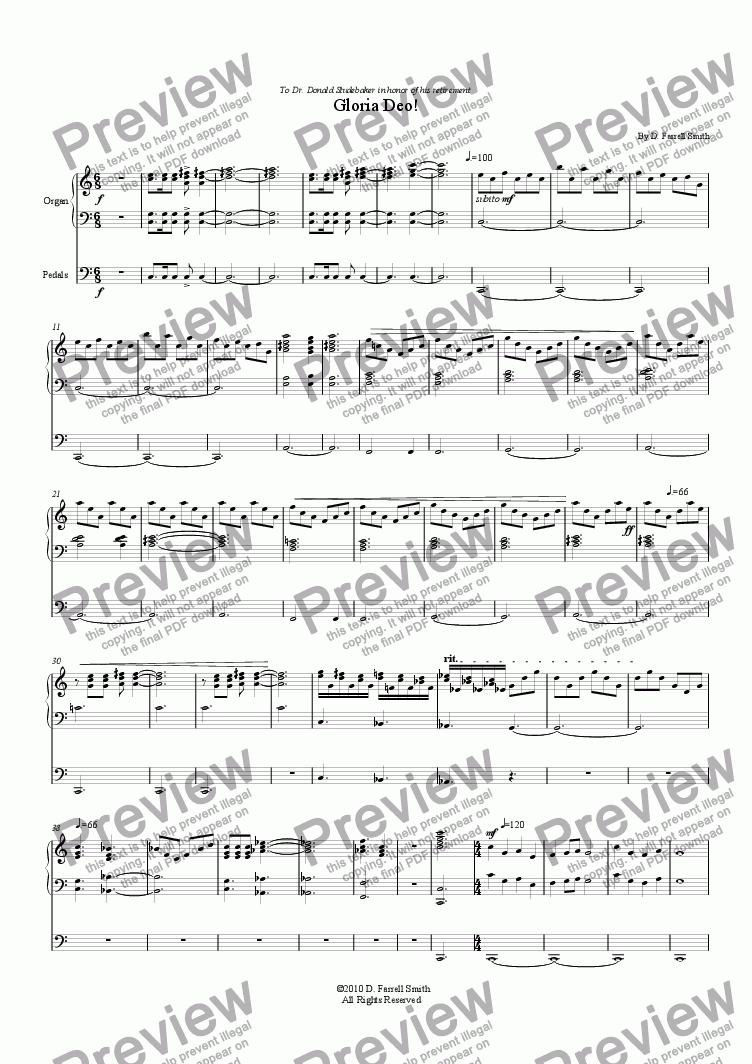 page one of the Organ part from Gloria Deo!