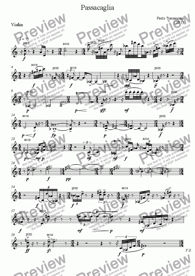 page one of the Violin part from Passacaglia