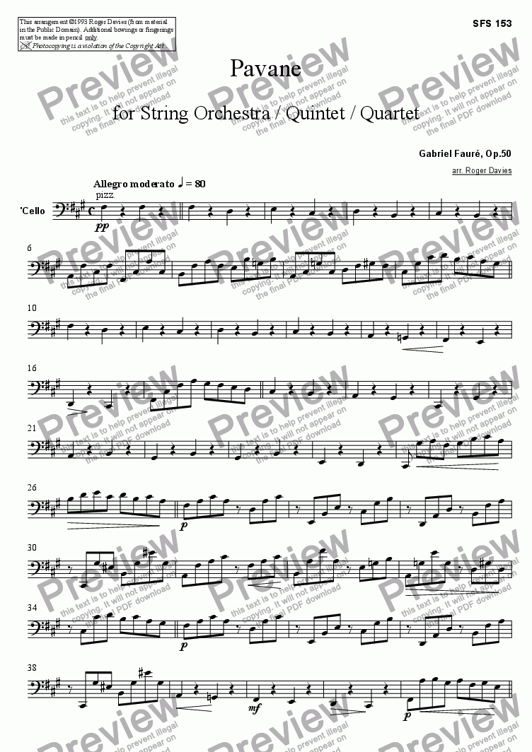 page one of the Cello part from Pavane, Op.50