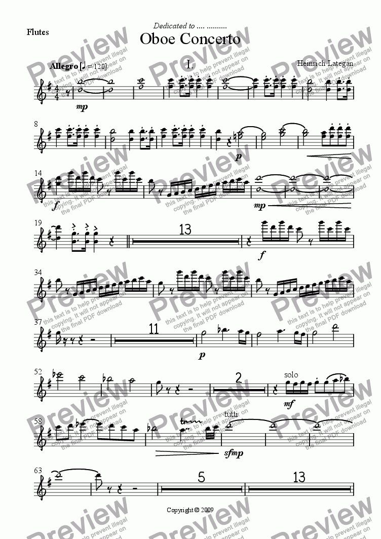 page one of the Flutes part from Oboe Concerto