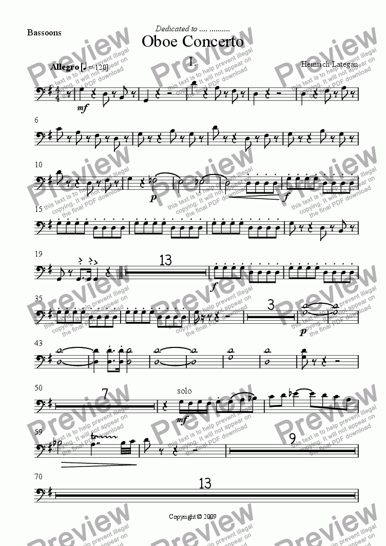 page one of the Bassoons part from Oboe Concerto