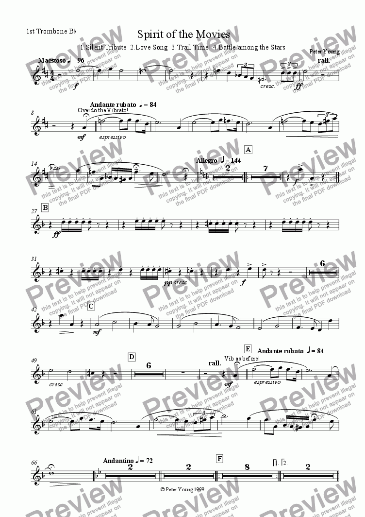 page one of the 1st Trombone part from Spirit of the Movies
