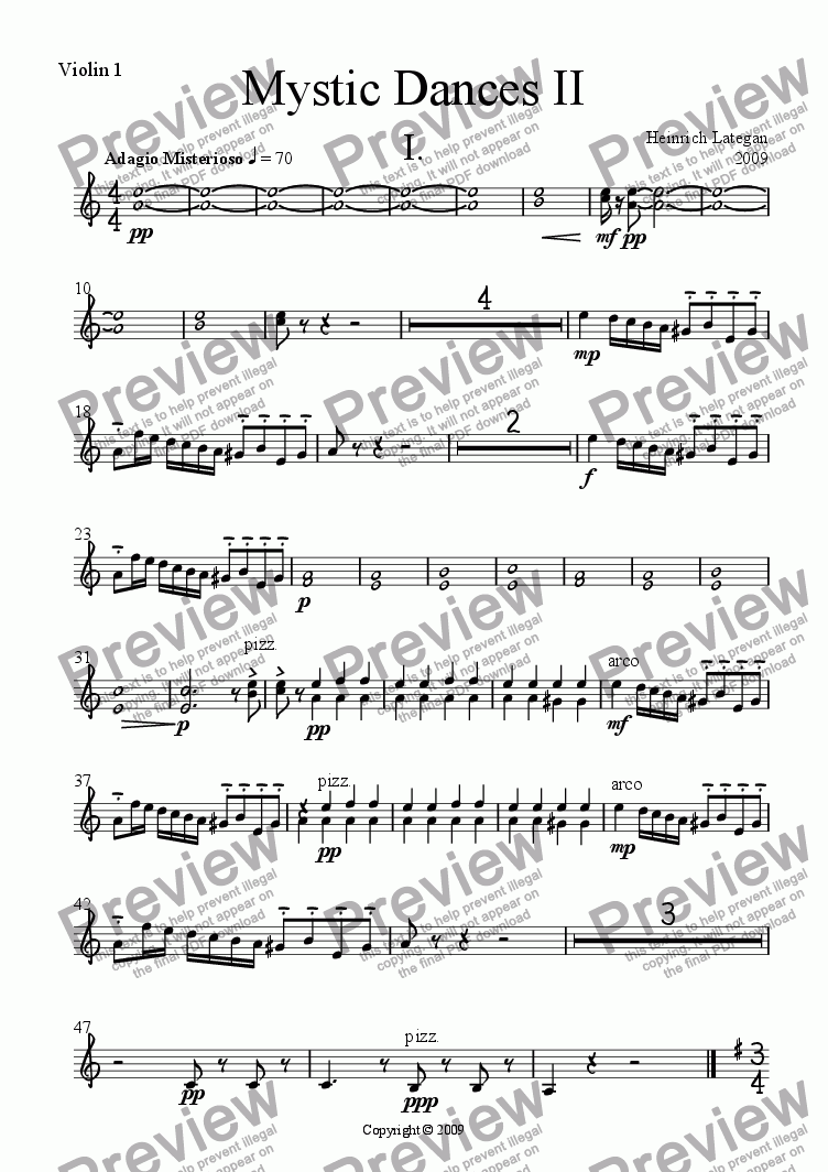page one of the Violin 1 part from Mystic Dances II