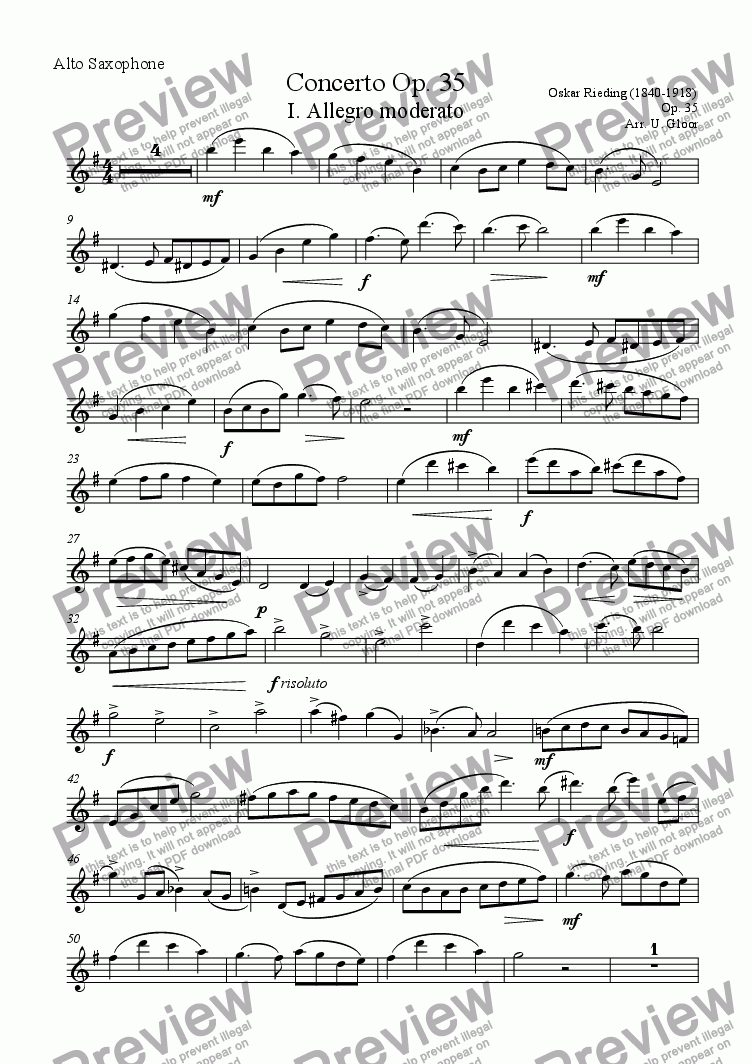 page one of the Alto Saxophone part from Concerto for Alto Saxophone and Piano op. 35