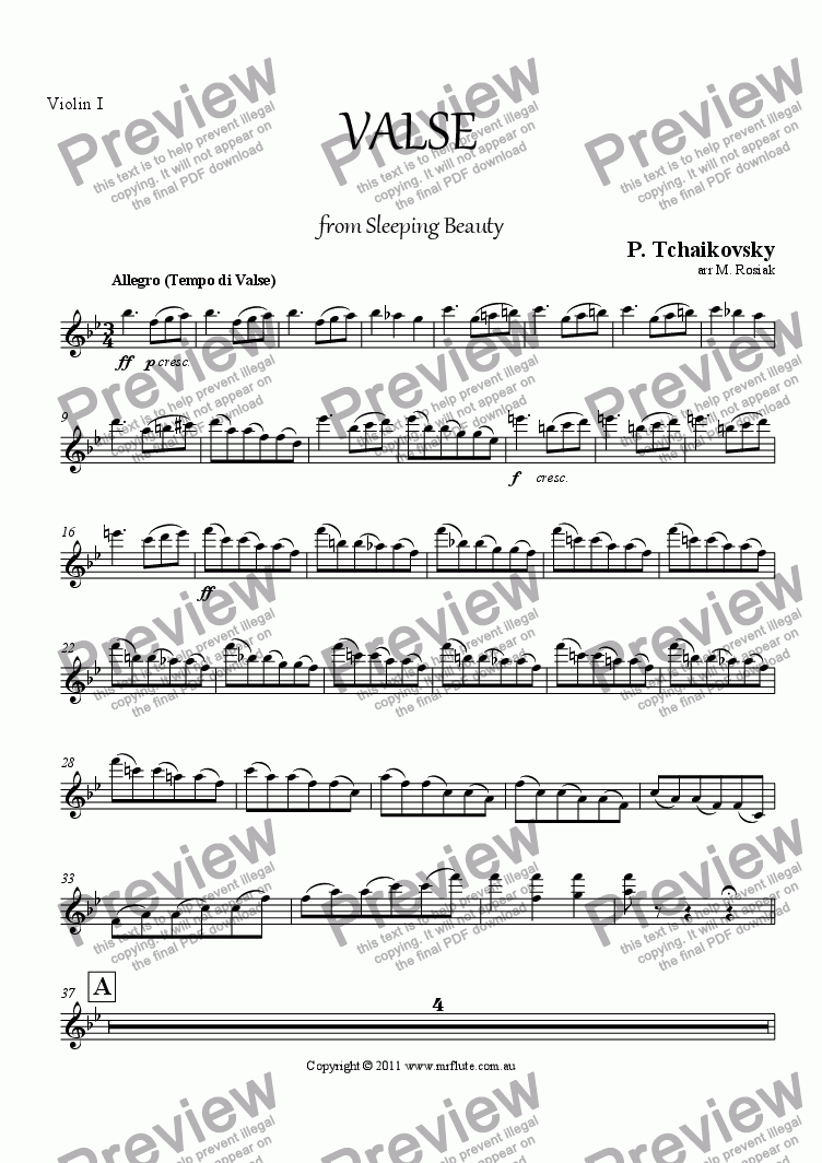 page one of the Violin I part from Waltz from Sleeping Beauty