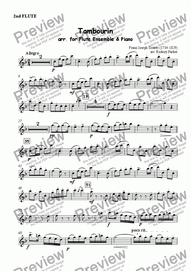 page one of the 2nd Flute part from 'Tambourin' arr. for Flute Ensemble & Piano