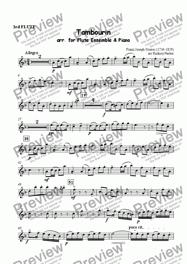 page one of the 3rd Flute part from 'Tambourin' arr. for Flute Ensemble & Piano