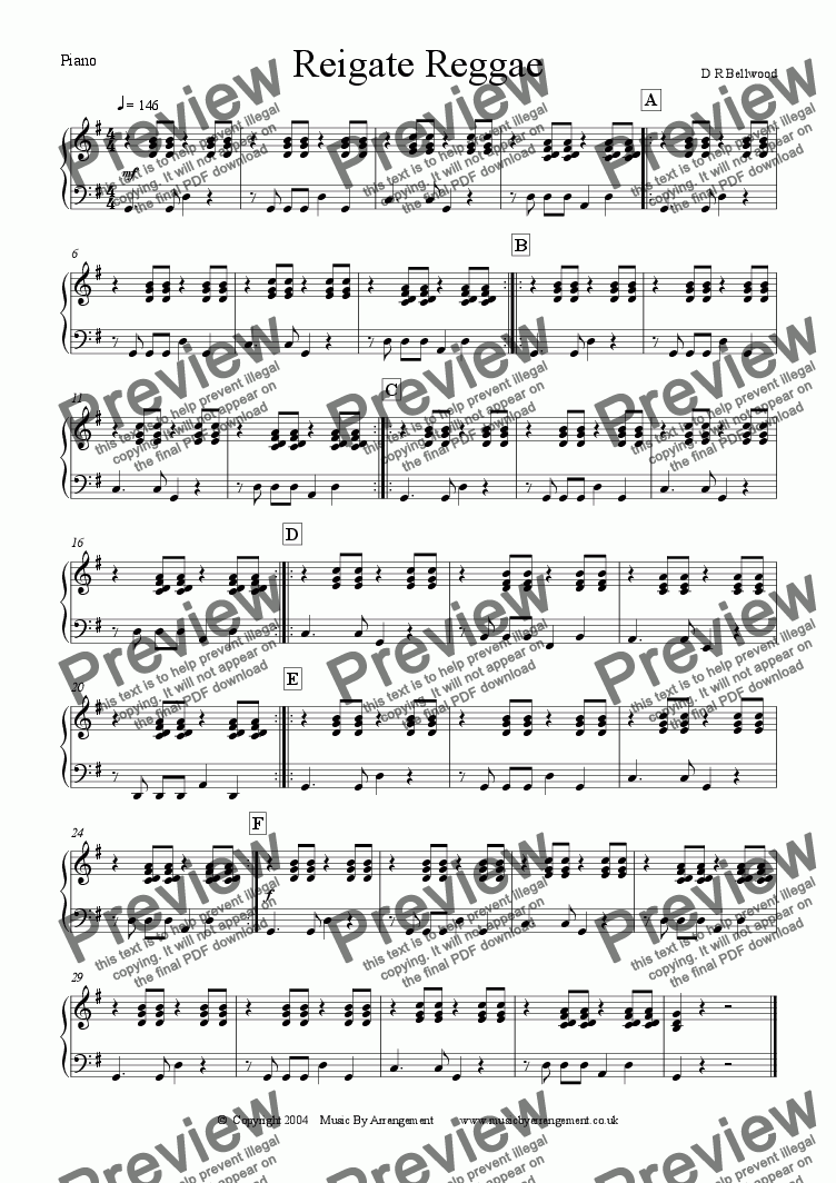 page one of the Piano part from Reigate Reggae