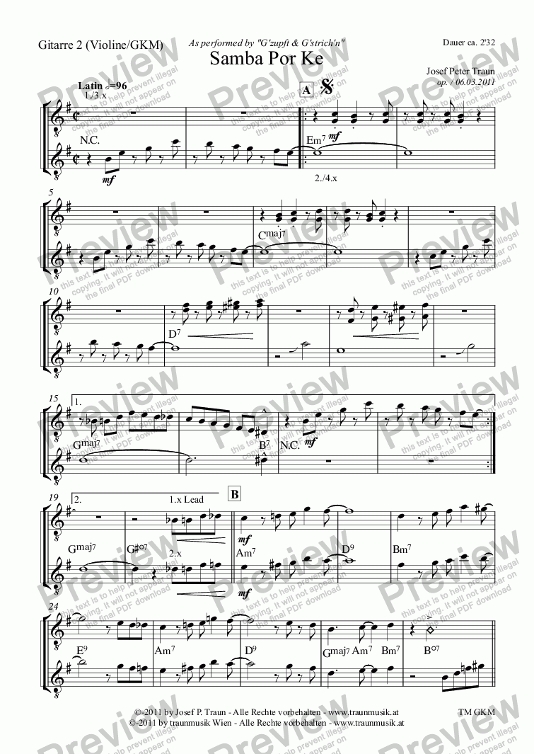page one of the Gitarre 2 (Violine) part from Samba por ke (GGM/Score & Parts)