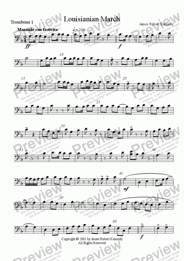 page one of the Trombone 1 part from Louisianian March