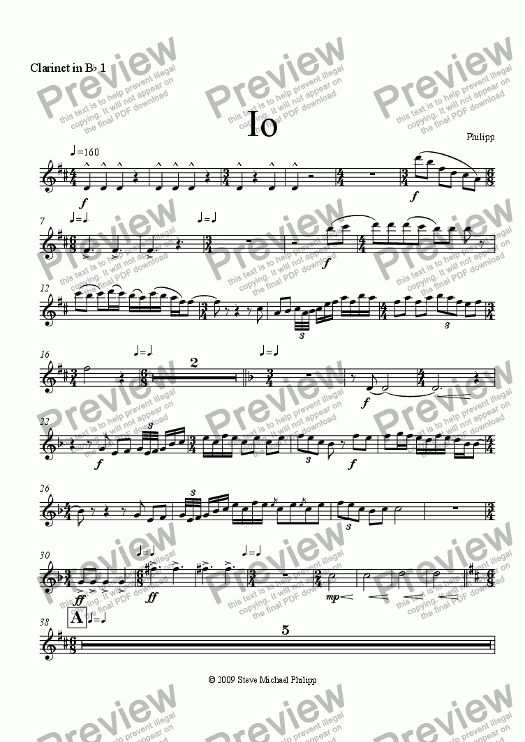 page one of the Clarinet in B^b 1 part from Io