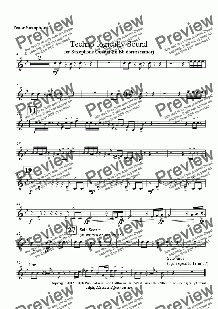 page one of the Tenor Saxophone part from Techno-logically Sound (Sax Quartet)