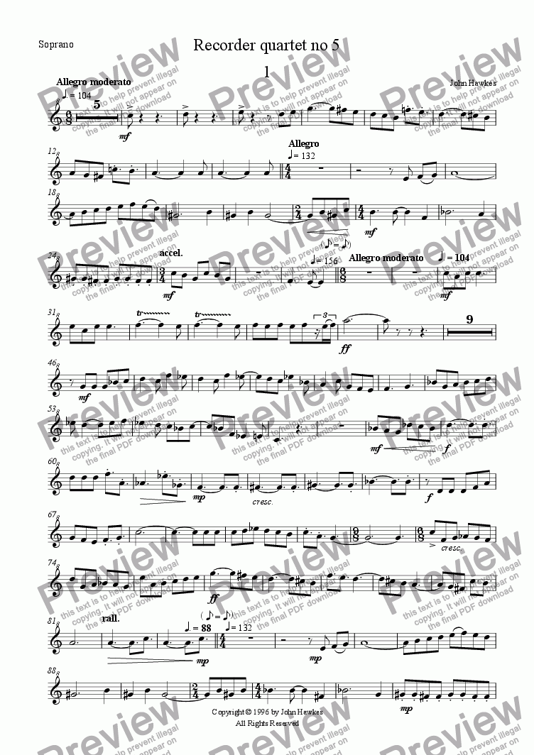 page one of the Soprano part from Recorder quartet no 5