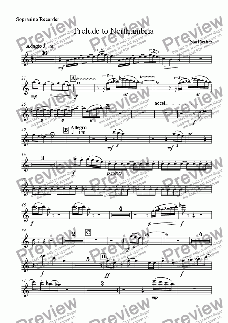 page one of the Sopranino Recorder part from Prelude to Northumbria