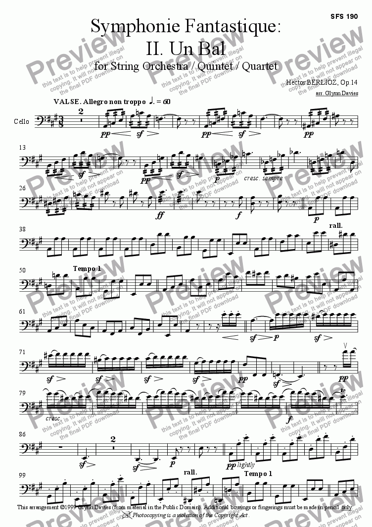page one of the Cello part from Symphonie Fantastique - 2. Un Bal