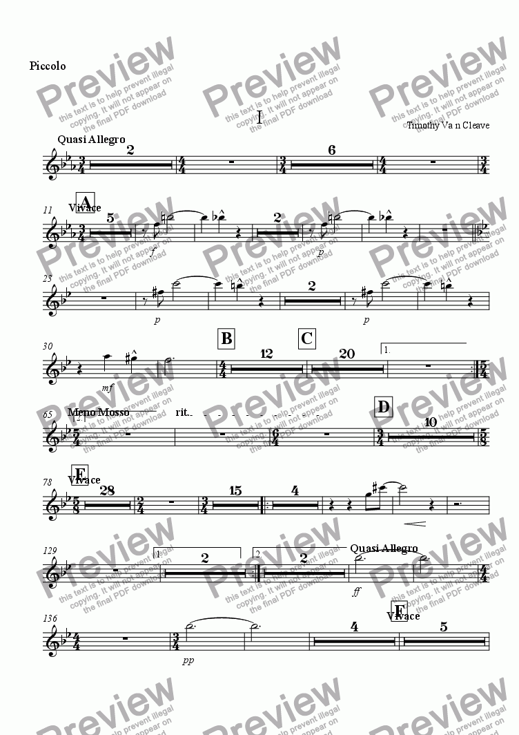 page one of the Piccolo part from Suite for Orchestra