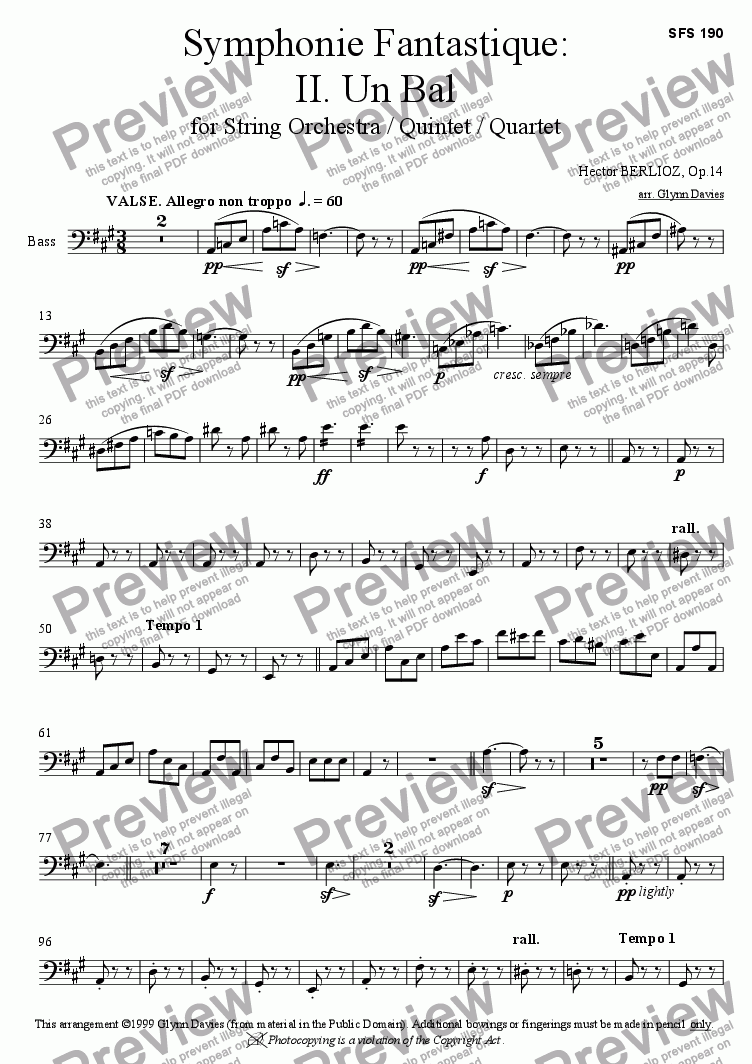 page one of the Bass part from Symphonie Fantastique - 2. Un Bal