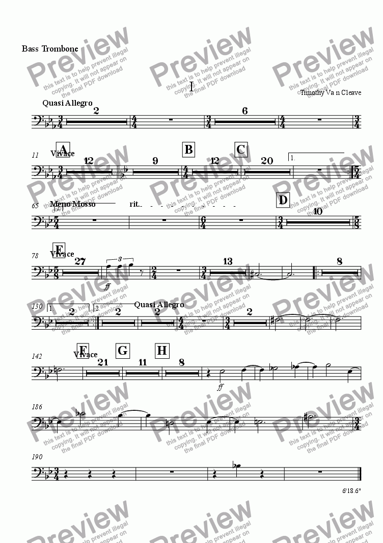 page one of the Bass Trombone part from Suite for Orchestra