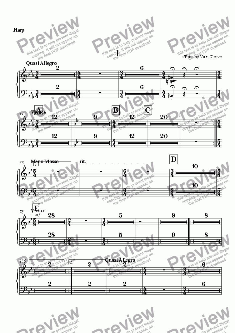 page one of the Harp part from Suite for Orchestra