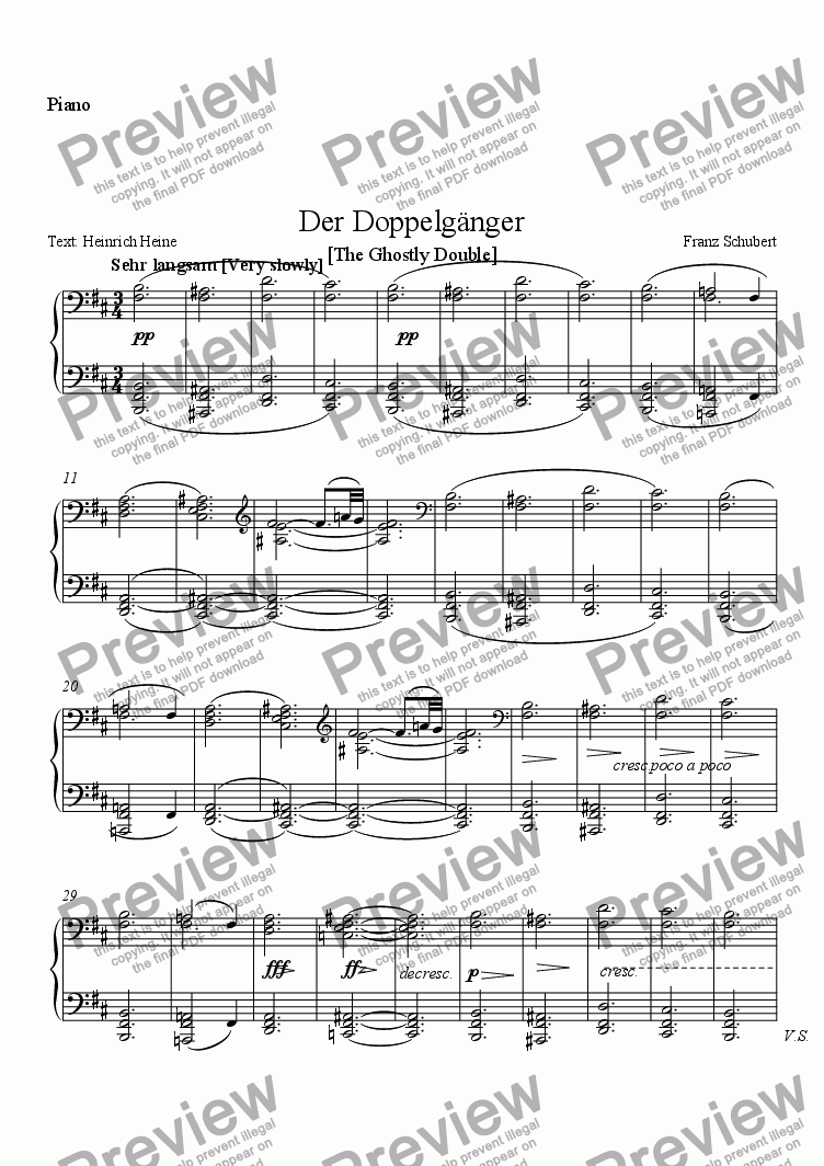 page one of the Piano part from Der Doppelgänger
