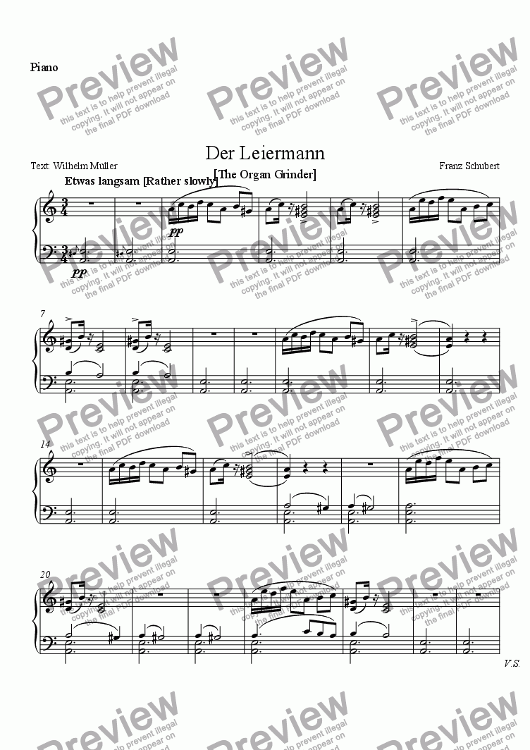 page one of the Piano part from Der Leiermann