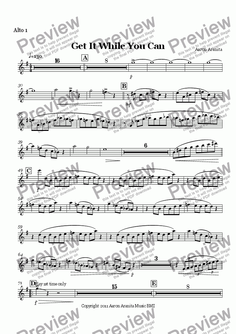page one of the Alto 1 part from Get It While You Can