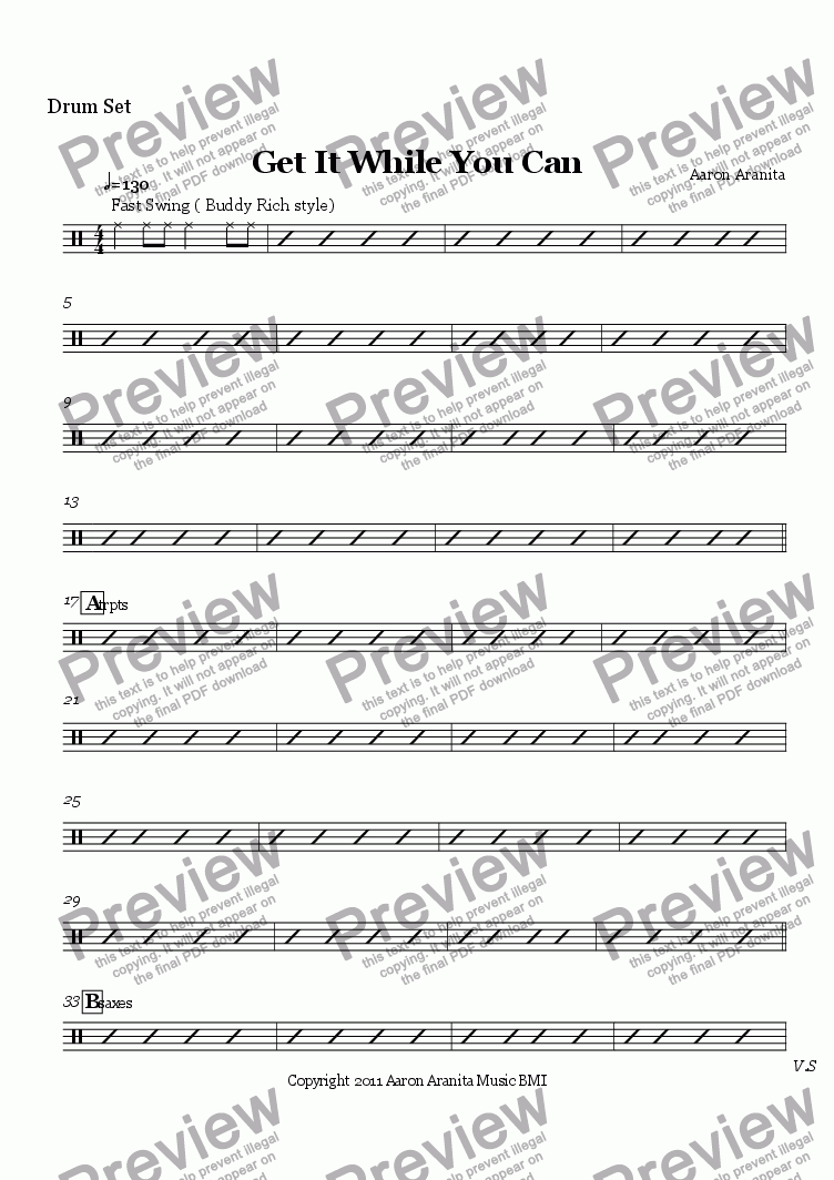 page one of the Drum Set part from Get It While You Can