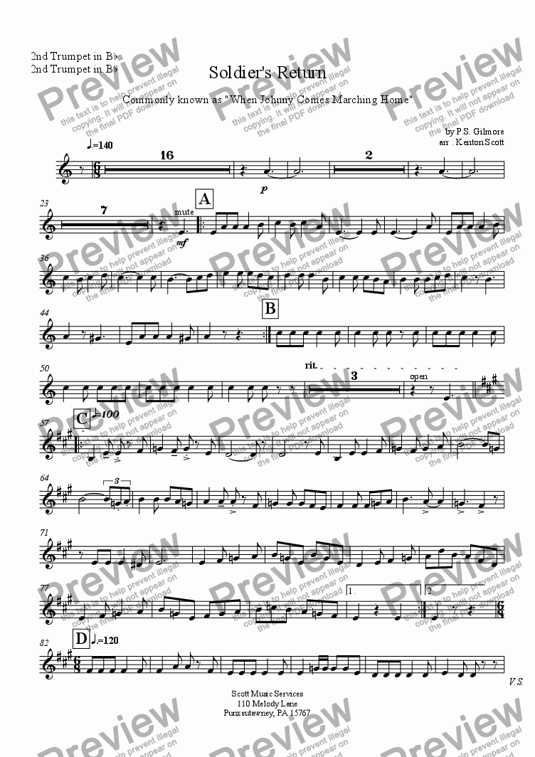page one of the 2nd Trumpet in B^b part from Soldier's Return