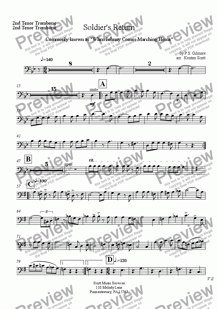 page one of the 2nd Tenor Trombone part from Soldier's Return