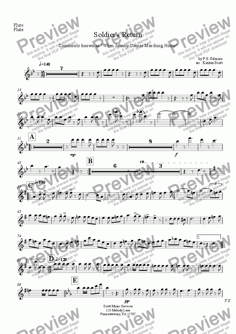 page one of the Flute part from Soldier's Return