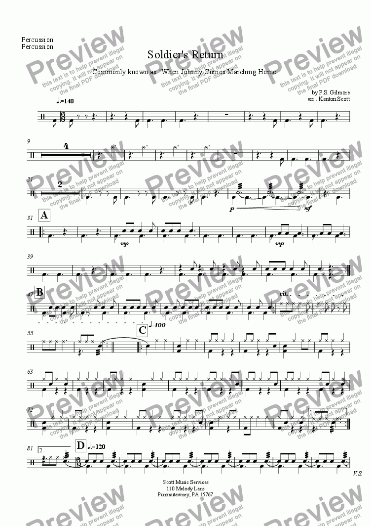 page one of the Percussion part from Soldier's Return