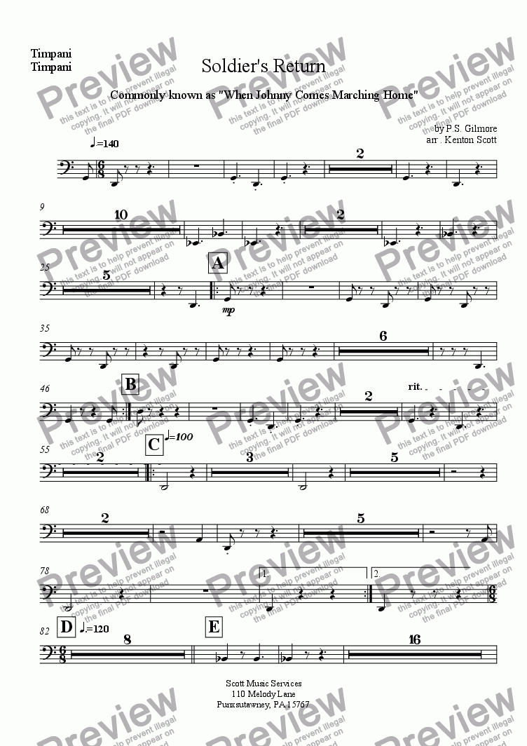 page one of the Timpani part from Soldier's Return
