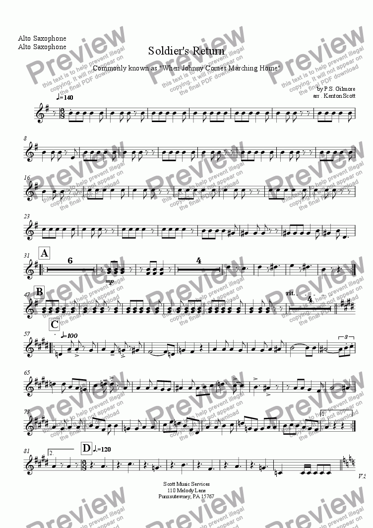 page one of the Alto Saxophone part from Soldier's Return