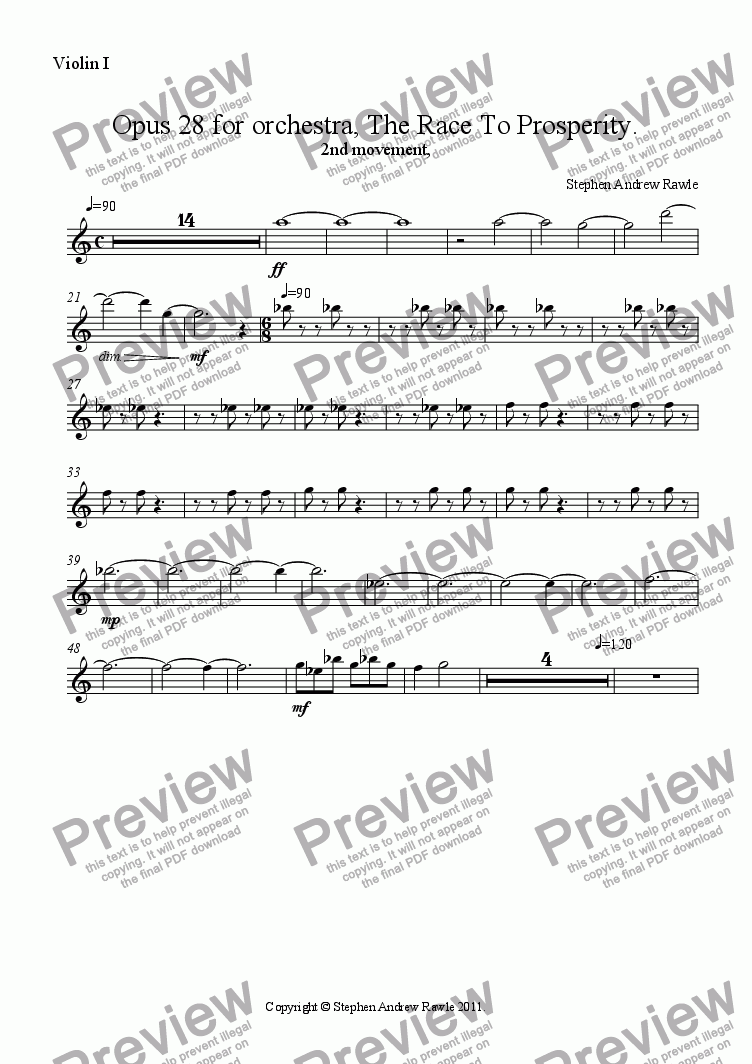 page one of the Violin I part from Opus 28/2, The Race To Prosperity.