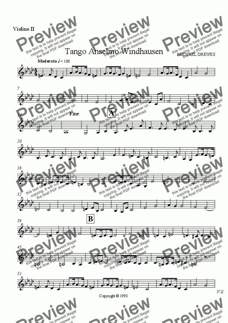 page one of the Violino II part from Tango Anselmo Windhausen