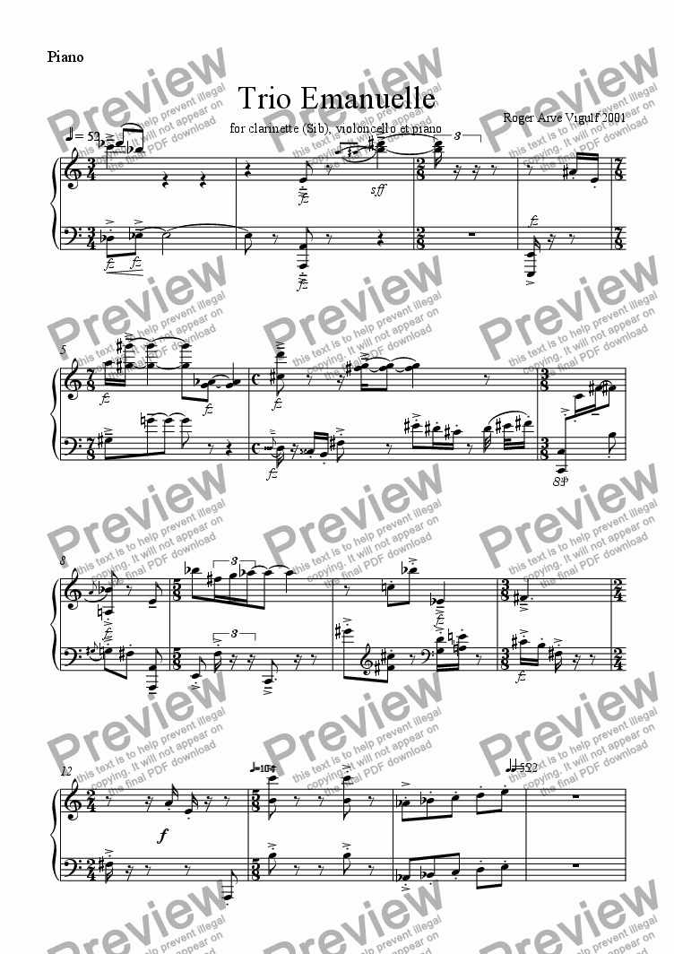 page one of the Piano part from Trio Emanuelle