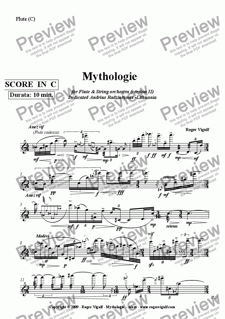 page one of the Flute (C) part from Mythologie