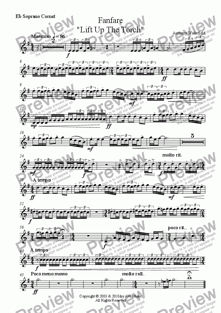 "page one of the Eb Soprano Cornet part from Fanfare ""Lift Up The Torch"""