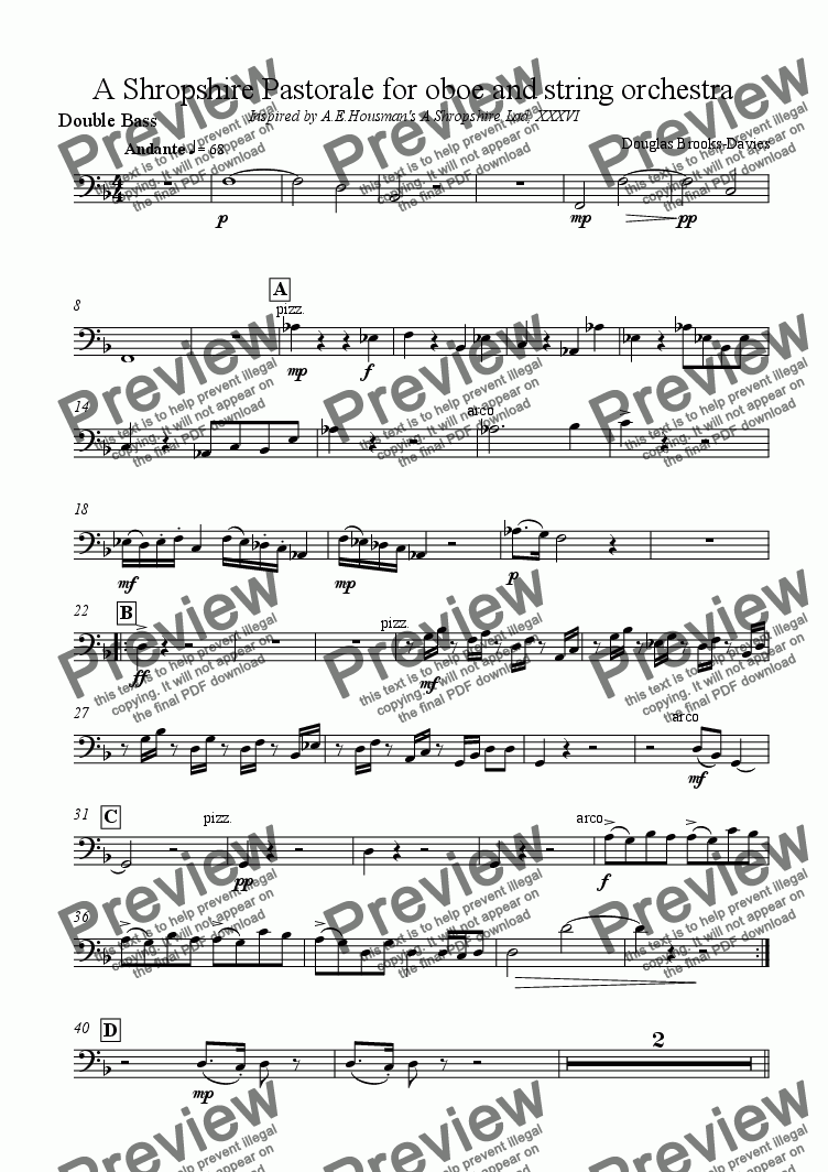 page one of the Double Bass part from Brooks-Davies: A Shropshire Pastorale for oboe and string orchestra