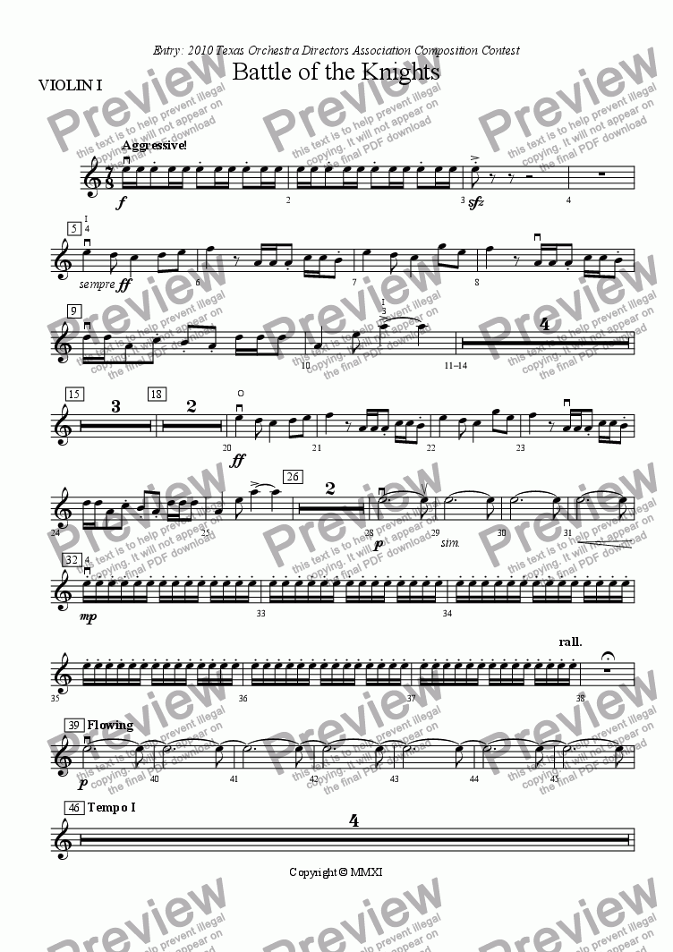 page one of the VIOLIN I part from Battle of the Knights