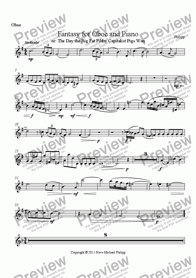page one of the Oboe part from Fantasy for Oboe and Piano