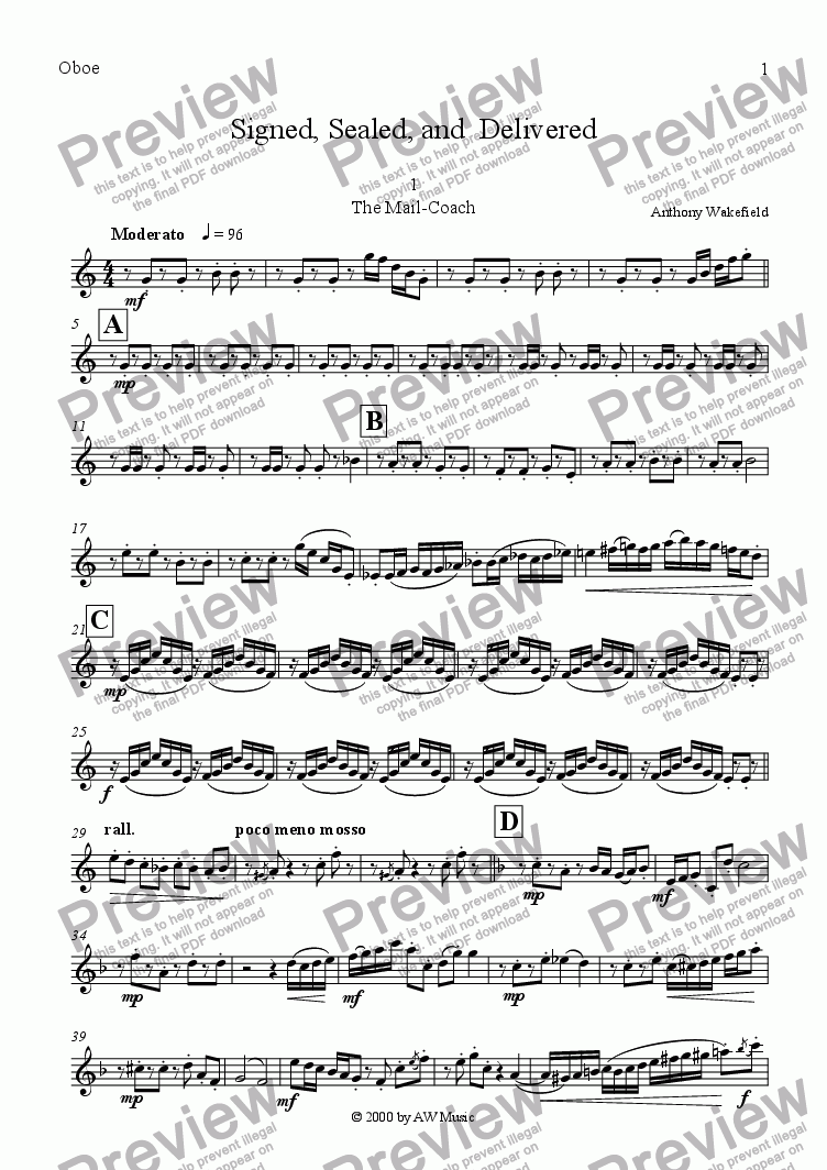 page one of the Oboe part from Signed, Sealed, and  Delivered