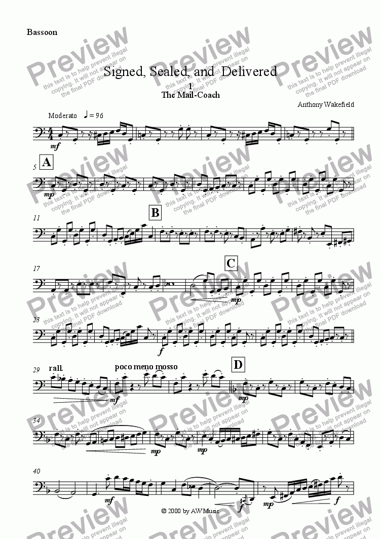 page one of the Bassoon part from Signed, Sealed, and  Delivered