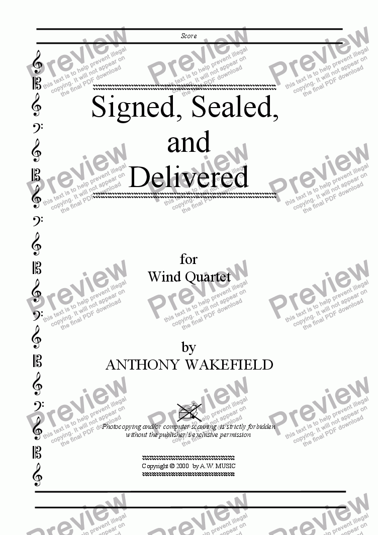 page one of the Title Page part from Signed, Sealed, and  Delivered