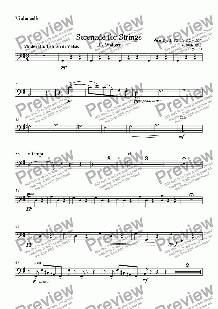 page one of the Violoncello part from Serenade for Strings II - Waltzer
