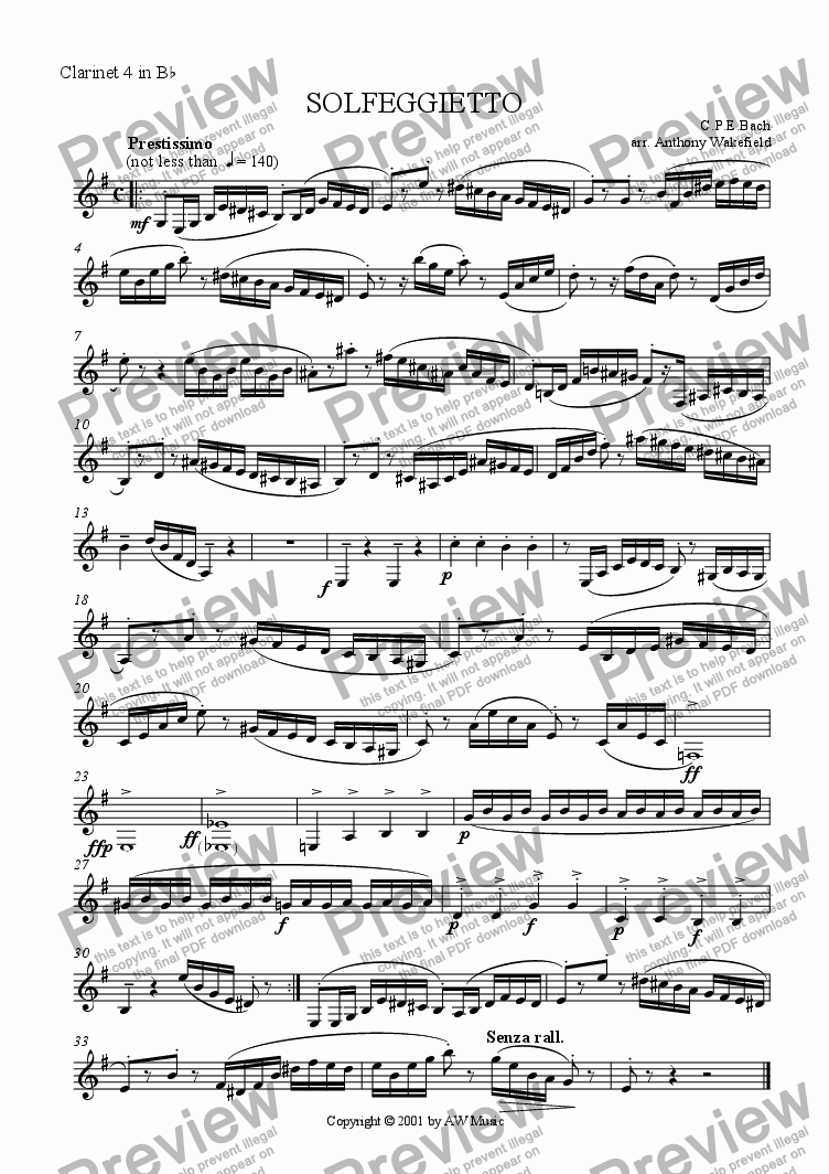 page one of the Clarinet 4 in Bb part from Solfeggietto (Clarinet 4tet)
