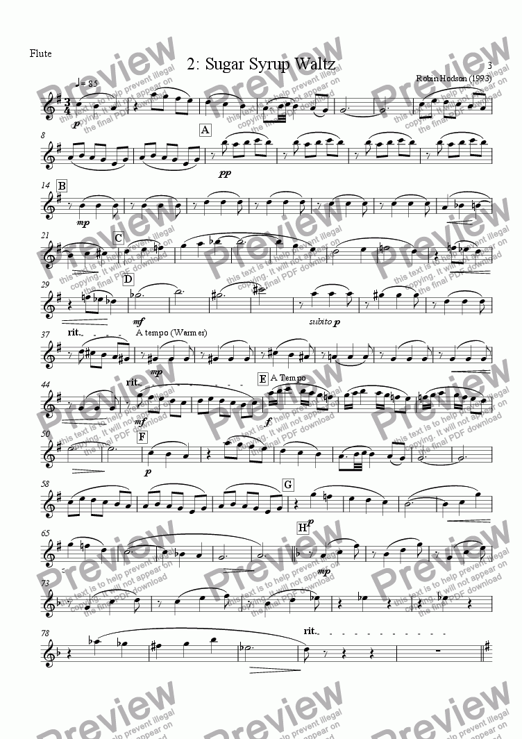 page one of the Flute part from Wind Quintet : 2 - Sugar Syrup Waltz