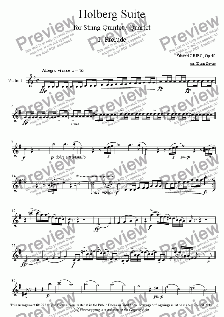 page one of the Violin 1 part from Holberg Suite - 1. Prelude