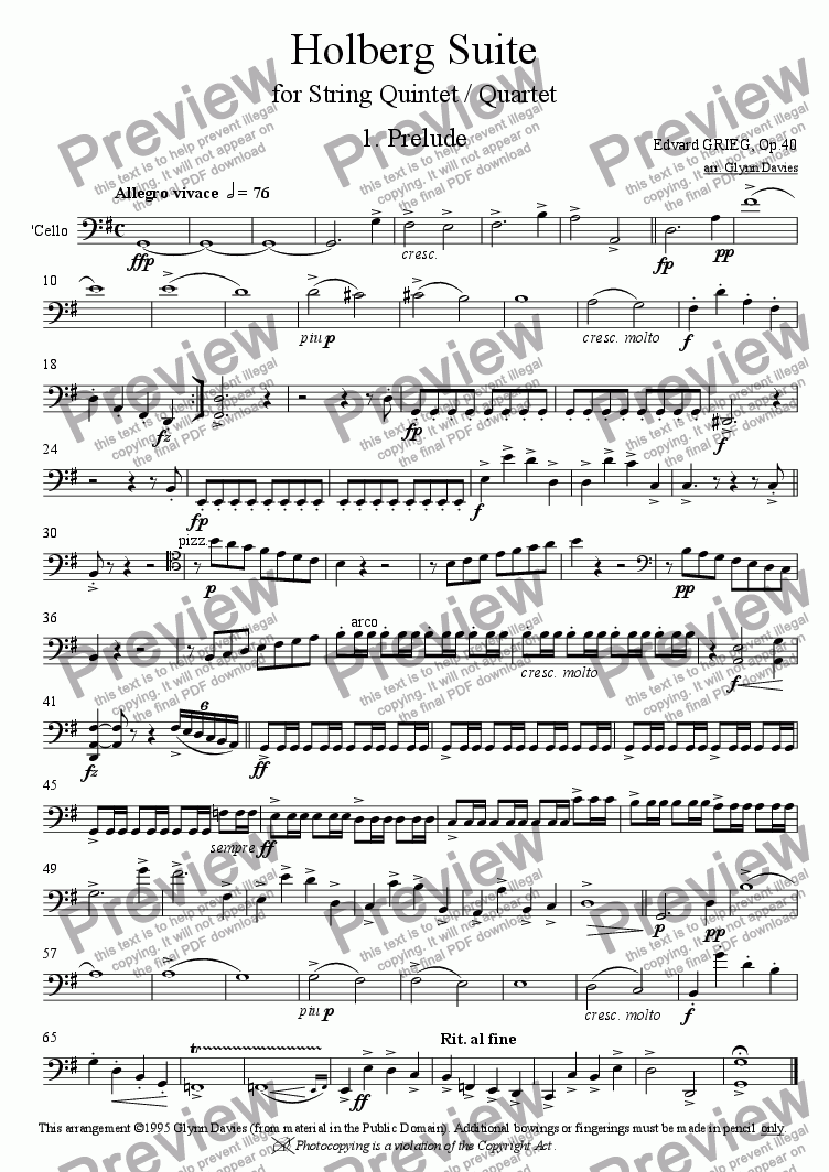 page one of the Cello part from Holberg Suite - 1. Prelude