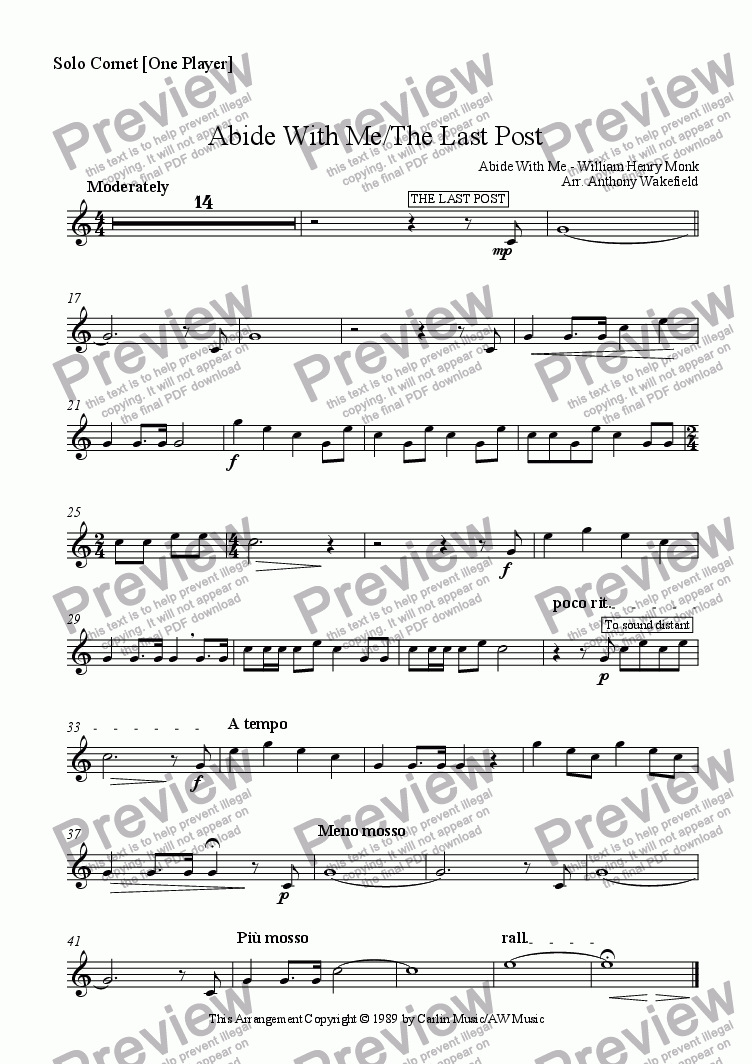 page one of the Solo Cornet part from Abide With Me/The Last Post